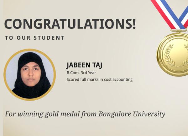 Ms. Jabeen Taj entitled for Gold Medal